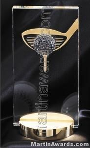 "4 1/2"" x 3/4 x 9"" 3 Dimensional Golf Prism Optical Crystal Glass"
