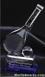 Tennis Racket And Ball Crystal Glass With Indigo Base