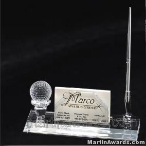 Crystal Glass Card and Pen Holder Award With Golf Ball