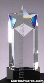 Crystal Star Glass Award With Black Base