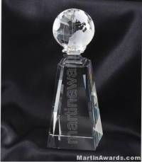Crystal Glass Awards Globe With Base