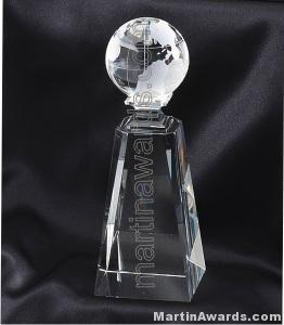 Crystal Glass Awards Globe With Base