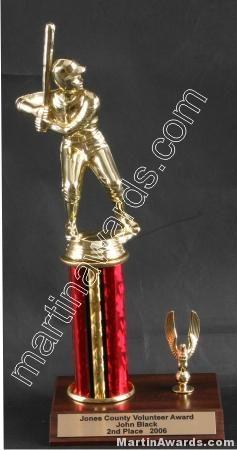Red Single Column Male Baseball/Softball With 1 Eagle Trophy