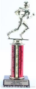 Red Single Column Football Trophy