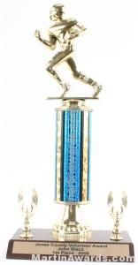 Blue Single Column Football With 2 Eagle Trophy