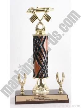 Wood Single Column Pinewood Derby Car With 2 Eagles Trophy
