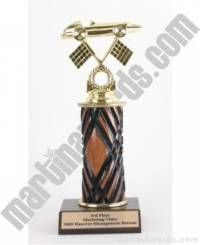 Wood Single Column Pinewood Derby Car Trophy