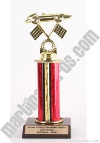 Red Single Column Pinewood Derby Car Trophy