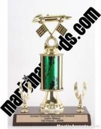 Green Single Column Pinewood Derby Car With 2 Eagles Trophy