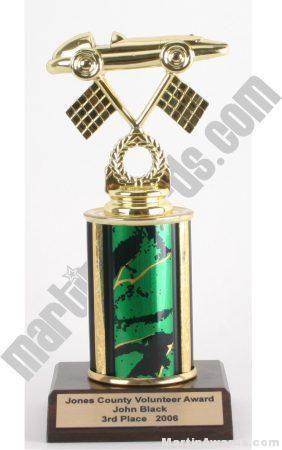 Green Single Column Pinewood Derby Car Trophy