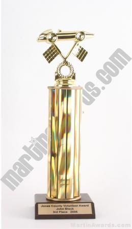 Gold Single Column Pinewood Derby Car Trophy