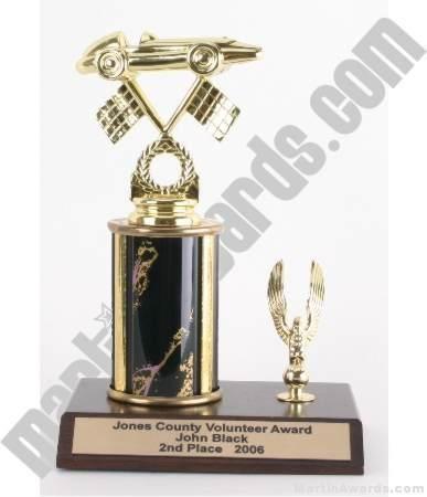 Black Single Column Pinewood Derby Car With 1 Eagle Trophy