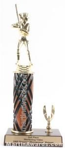 Wood Single Column Female Softball With 1 Eagle Trophy