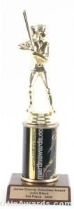 Black Single Column Female Softball Trophy