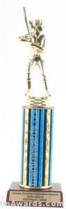 Blue Single Column Female Softball Trophy