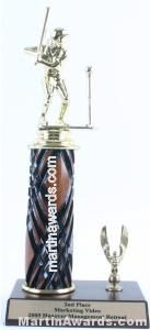 Wood Single Column Female T-Ball With 1 Eagle Trophy