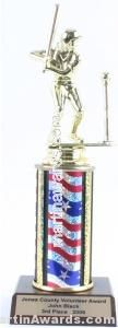 Red/White/Blue Single Column Female T-Ball Trophy