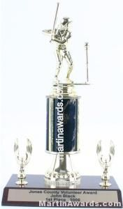 Black Single Column Female T-Ball With 2 Eagles Trophy