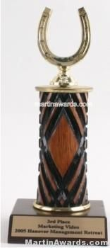 Wood Single Column Horseshoe Trophy