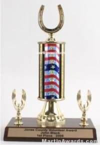 Red/White/Blue Single Column Horseshoe With 2 Eagle Trophy