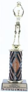 Wood Single Column Female Basketball Trophy