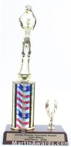 Red/White/Blue Single Column Female Basketball With 1 Eagle Trophy