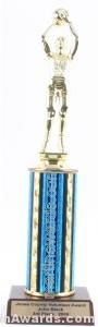 Blue Single Column Female Basketball Trophy