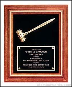 Walnut Plaque with Gold Gavel and Velour Back Plate