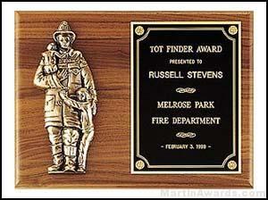 Plaque - Fireman Plaques with Cast Figure