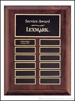 Plaque - Cherry Finish Perpetual Plaques with 12 Brass Plates