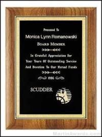 Solid Walnut Plaque with Black Brass Plate