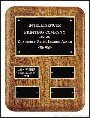 Plaque - American Walnut Perpetual Plaque for Quarterly Awards