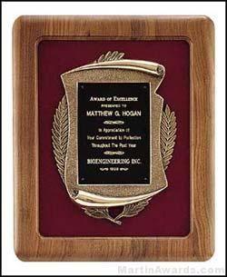 Plaque - American Walnut Plaques w/Antique Bronze Casting
