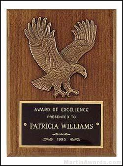 Plaque - American Walnut Plaques with Antique Bronze Cast Eagle