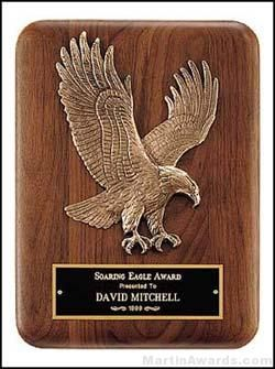 Plaque - Walnut Plaque with Sculptured Relief Eagle Casting Plaques