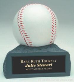 White Baseball On Base Gold Resin Trophy