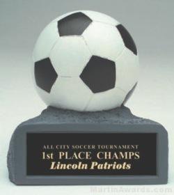 B/W Soccer On Base Gold Resin Trophy