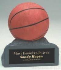 Orange Basketball On Base Gold Resin Trophy