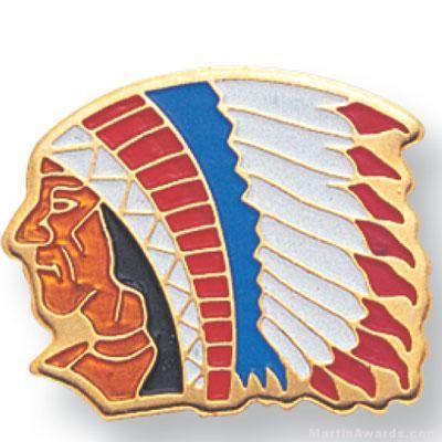 Indian Chief Mascot Lapel Pin