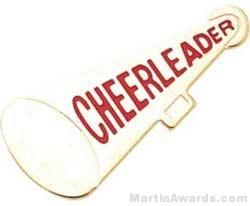 """1 1/4"""" Etched Soft Enamel Cheerleader Megaphone Chenille Letter Pin"""
