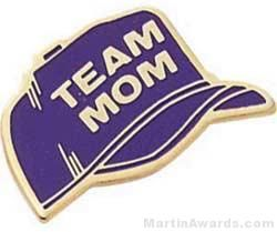 """7/8"""" Etched Soft Enamel Team Mom Chenille Letter Pin"""
