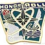 7/8″ Etched Soft Enamel Honor Roll Chenille Letter Pin 1