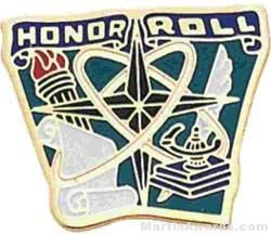 """7/8"""" Etched Soft Enamel Honor Roll Chenille Letter Pin"""