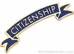"1 3/8"" Etched Soft Enamel Citizenship Chenille Letter Pin"