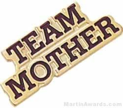 """13/16"""" Etched Soft Enamel Team Mother Chenille Letter Pin"""