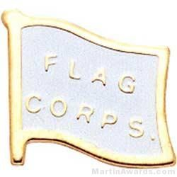 """1 5/8"""" Etched Soft Enamel Flag Corps Chenille Letter Pin"""