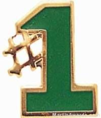 "5/8"" Etched Soft Enamel Green #1 Chenille Letter Pin"