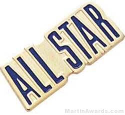 "3/4"" Etched Soft Enamel All Stars Chenille Letter Pin"