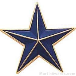"""7/8"""" Etched Soft Enamel Blue Star Chenille Letter Pin"""