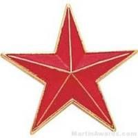 "7/8"" Etched Soft Enamel Red Star Chenille Letter Pin"